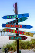 Multiple destination signs and distance from Venice, Florida USA