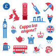 Red and blue Great Britain icon vector set. Flat icons for web and mobile