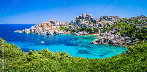 Bizarre granite rock and azure bay in Capo Testa, Sardinia, Italy