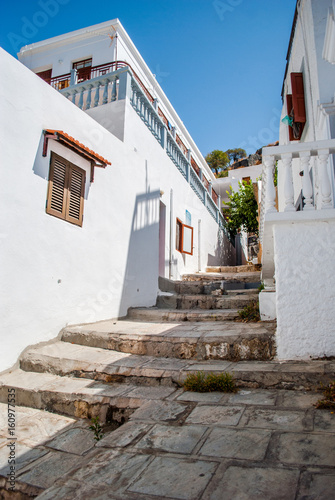 Lindos, Greece - September 10, 2016: Traditional house in Lindos, Rhodes, Greece