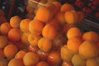 Fresh apricots for sale on farmer's market. Agriculture background. Top view. Close-up - 160985719