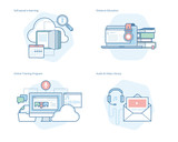 Set of concept line icons for distance education, audio and video library, online training and courses, self-paced e-learning. UI/UX kit for web design, applications, mobile interface, print design.  - 160988914