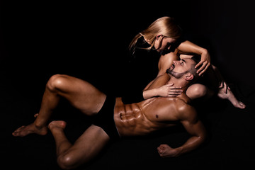 couple in love of man with muscular body with girl