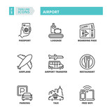 Fototapety Thin line icons. Airport