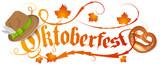 Oktoberfest Logo mit Brezel und Hut - 161020310