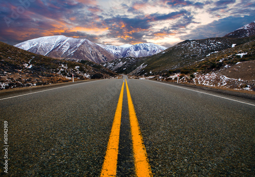 Poster mountain road in arthur's pass national park new zealand ,most popular traveling