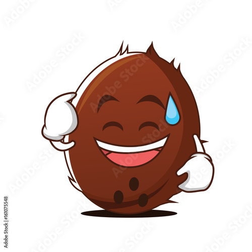 Sweat smile coconut cartoon character