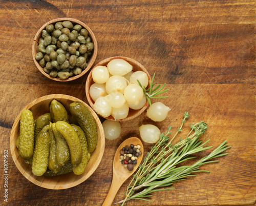 marinated pearl onions pickled cucumbers and capers