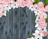Magnolia flowers with roses, hortensia and place for your text