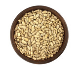 Close up sunflower seed in dish isolated on white