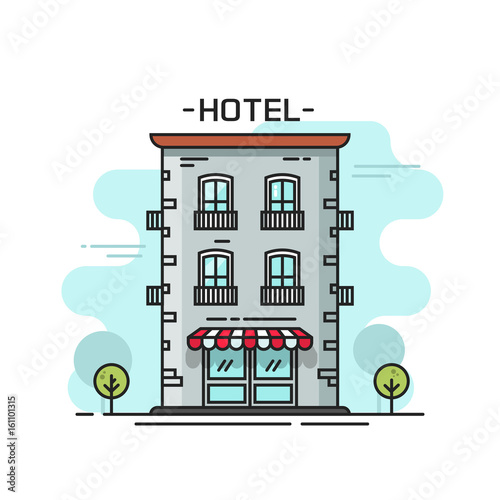 Hotel building vector illustration line outline flat carton style from street view