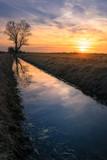 Sonnenuntergang auf Feld mit Wassergraben