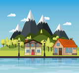 Country houses with river and mountains landscape vector illustration
