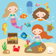 Vector illustration of cute little mermaids with fishes, jellyfish, starfish, crab, turtle, seahorse, shells, and treasure chest under the sea.