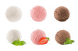 Ice cream scoops collection of six balls - creamy, strawberry, chocolate - decorated mint leaves, sliece berry. Isolated on white background. Template for menu.