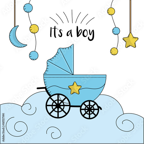 In de dag Retro sign baby shower card to welcome a boy