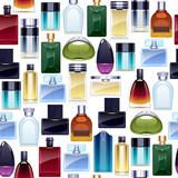 Perfume bottles icons seamless pattern. Eau de parfum. - 161152504
