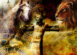 interpretation of Jesus on the cross and animals and zodiac, graphic painting version. Sepia effect. - 161152715