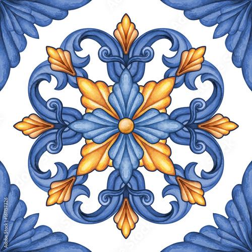 watercolor illustration, abstract decorative background, vintage pattern, medieval acanthus, ceramic tile ornament, kaleidoscope, mandala - 161157326