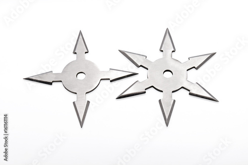 Ninja Star Shuriken on White Background Poster