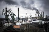 Heavy industrial scene at the Gdansk shipyard in Poland