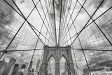 Wide angle black and white picture of Brooklyn Bridge, New York City, USA. - 161167339