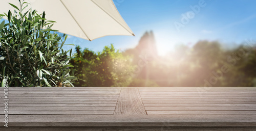 Summer background with wooden table