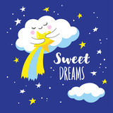 Cute cloud with comet and stars in space. Vector illustration is suitable for greeting cards and prints on T-shirts.