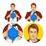 Fototapety Vector illustration, mens pop art round avatar icon for users of social networking, blogs. Superhero man opened his shirt on his chest