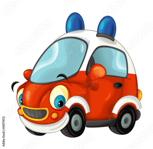 Cartoon fire brigade car - isolated - illustration for children - 161174172