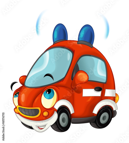 Cartoon fire brigade car - isolated - illustration for children - 161176710