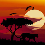 African landscape with tiger. Vector