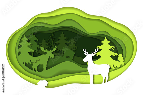 Paper art carving of landscape with forest animals.
