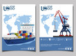 Commercial sea shipping banner set