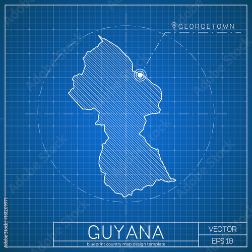 Guyana blueprint map template with capital city georgetown marked guyana blueprint map template with capital city georgetown marked on blueprint guyanese map vector malvernweather Images