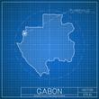 Постер, плакат: Gabon blueprint map template with capital city Libreville marked on blueprint Gabonese map Vector illustration