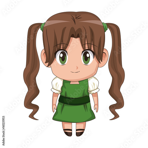 cute anime chibi little girl cartoon style - 161231953