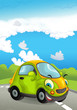 Cartoon sports car smiling and looking on the road - illustration for children