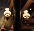 Modern and vintage fashion lamp Edison interior loft room. Lantern with filament.