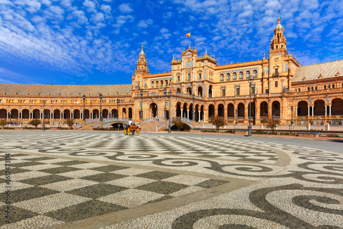 Spain Square or Plaza de Espana in Seville in the sunny summer day, Andalusia, Spain.