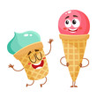 Two funny ice cream characters - strawberry cone and pistachio cup, cartoon style vector illustration isolated on white background. Couple of cute smiling strawberry and pistachio ice cream characters