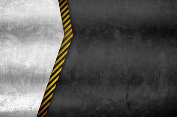 metal plate with attention striped background
