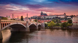 Prague at sunset. Image of Prague, capital city of Czech Republic, during dramatic sunset.