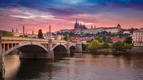 Staande foto Praag Prague at sunset. Image of Prague, capital city of Czech Republic, during dramatic sunset.