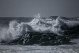Stormy sea on rocky coast - 161277978