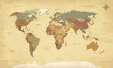 Weltkarte auf Deutsch - Vintage retro stil - Vektorisiert texte : länder, hauptstädte, inseln, meere... - 161289354