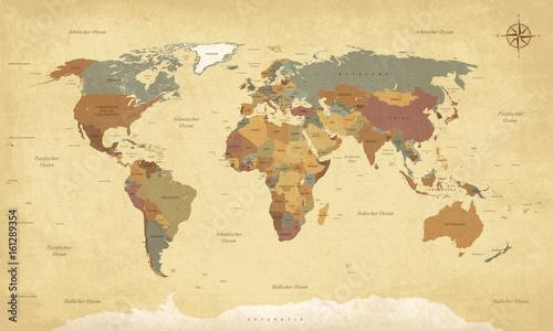 Fotobehang Wereldkaarten Weltkarte auf Deutsch - Vintage retro stil - Vektorisiert texte : länder, hauptstädte, inseln, meere...