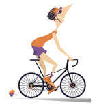 Cartoon man rides a bike isolated. Smiling man in helmet rides a bike and looks healthy and happy