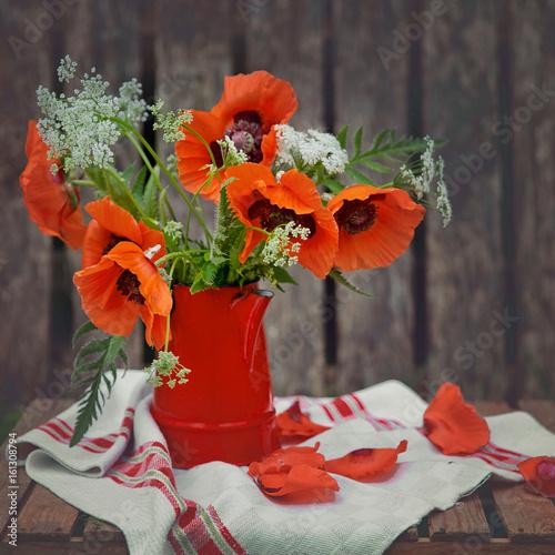 Bouquet of poppies in the garden