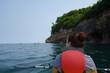 Woman kayaking at Pictured Rocks Michigan